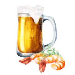 Beer and shrimps. Watercolor