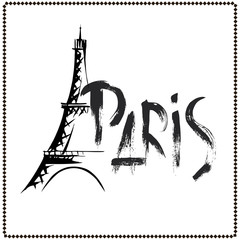 Word Paris, Eiffel Tower hand drawn