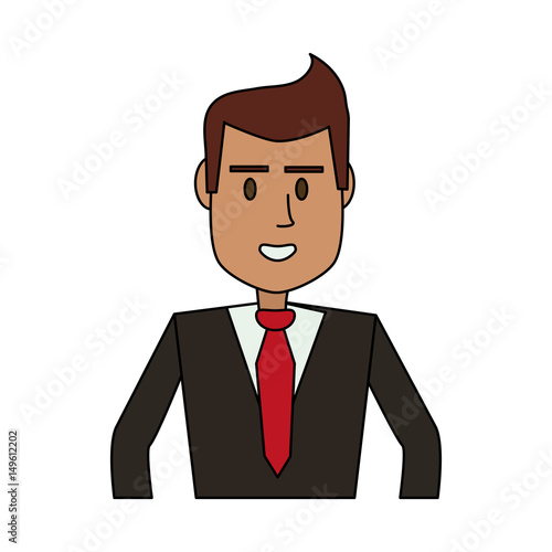 "Executive Cartoon: ""color Image Cartoon Half Body Executive Man Vector"