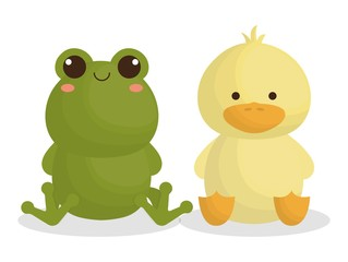 cute frog and duck animals icon over white background. colorful design. vector illustration