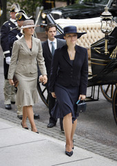 Sweden's Crown Princess Victoria arrives with sister and brother at opening of parliament in Stockholm
