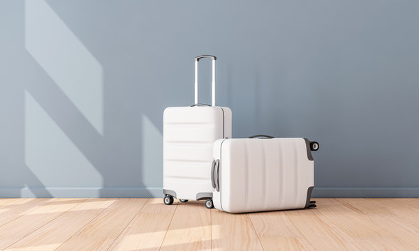 Two White Luggage mockup in empty room, Suitcase, baggage, 3d rendering