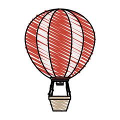 color crayon stripe hot air balloon vector illustration