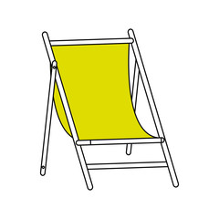 color silhouette image wooden chair for beach vector illustration