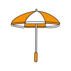 color silhouette image beach umbrella vector illustration