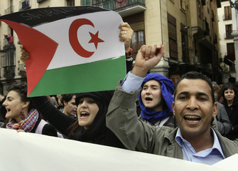 Demonstrators shout slogans in support of Western Sahara in Madrid