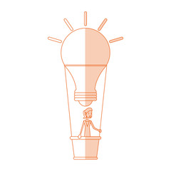 red silhouette shading image cartoon ligth bulb hot air balloon with woman inside vector illustration