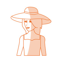 red silhouette shading image cartoon half body woman with beach hat and casual clothing vector illustration