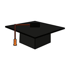 color image cartoon black graduation cap vector illustration