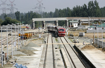 Kashmir's first ever train undergoes a trial run at a railway station in Budgam