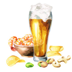 Beers and snacks. Watercolor