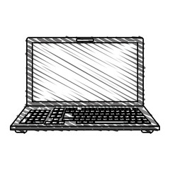 color crayon stripe image cartoon front view laptop computer vector illustration
