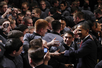 U.S. President Obama greets cadets at the U.S. Military Academy in West Point, New York