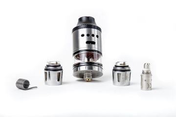 Electronic cigarette tank and coils on white background