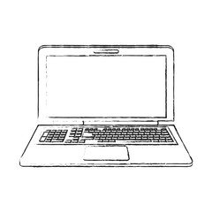 blurred silhouette image laptop computer tech device vector illustration