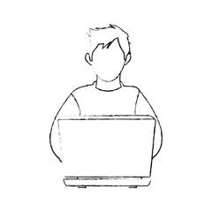 blurred silhouette image cartoon hacker sitting at the desktop vector illustration