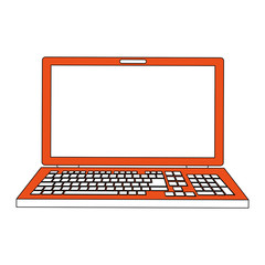 color silhouette image cartoon front view laptop computer vector illustration