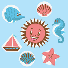 Set of sea icons. Vector illustration.