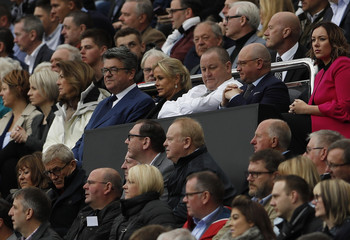 Newcastle United owner Mike Ashley and Managing Director Lee Charnley in the stands