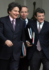 French Minister of Social Affairs Labour and Solidarity Jean-Louis Borloo (R), Minister of Economy, ..