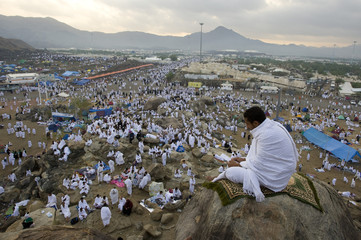 Muslim pilgrim prays on Mount Mercy on the plains of Arafat outside the holy city of Mecca