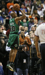 Boston Celtics guard Ray Allen shoots the game winning three point shot against the Philadelphia 76ers during the fourth quarter of NBA basketball action in Philadelphia, Pennsylvania