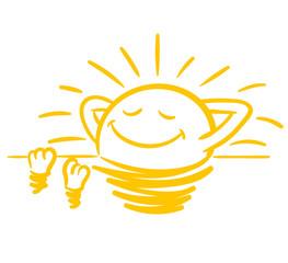 Sonne nimmt ein Sonnenbad