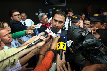 Costa Rica's national soccer team coach Alexandre Guimaraes speaks to the media in Alajuela