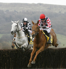 Walsh on Taranis leads Dubbin on Monet's Garden over fence during the Ryanair Steeple Chase on the third day of the Cheltenham Festival
