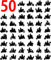 Fototapete - big collection of motorcyclist silhouettes - vector