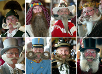 COMBINATION PICTURE SHOWS MEN PRESENTING THEIR BEARDS DURING THE INTERNATIONAL GERMAN BEARD ...
