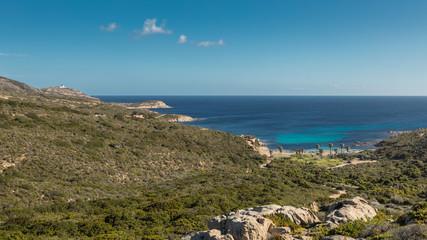 West coast of Corsica towards Revellata lighthouse near Calvi