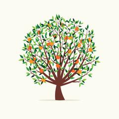 Vector Illustration of an Orange Tree. Flat Design Style.