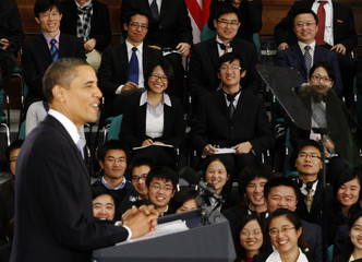 U.S. President Obama at a town hall meeting in Shanghai