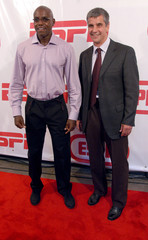 Carl Lewis and Eric Heiden on the red carpet at ESPN celebration in New York City.