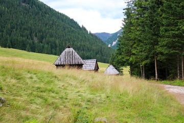 Wooden hut among the mountains