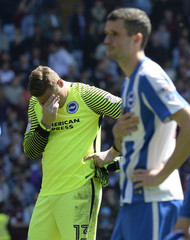 Brighton's David Stockdale dejected at the end of the match