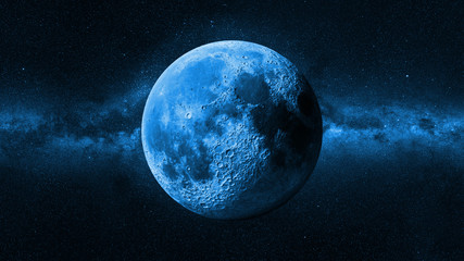 blue Moon in front of the Milky Way galaxy