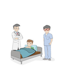 Medical plot. Doctors stand around the bed with the sick. Meeting on treatment. vector illustration.
