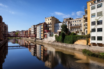Girona City Skyline in Catalonia, Spain