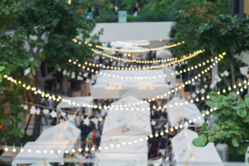 blur image of outdoor market on street background with bokeh . Fotomurales