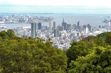 Aerial view of Kobe city and Port Island of Kobe from Mount Rokko, skyline and cityscape of Kobe, Hyogo Prefecture, Japan
