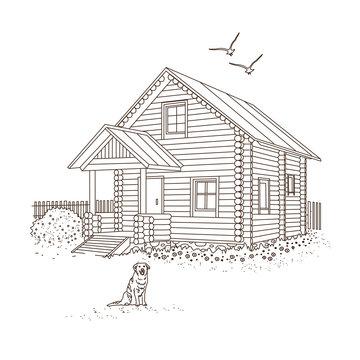 Деревянный дом набросок