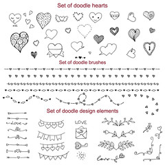 Set of doodle elements, vector sketch, doodle heart, brushes, borders, text dividers, flags, corners