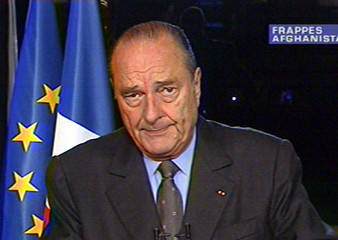 French President Jacques Chirac is seen during a nationally televised address during which he said t..