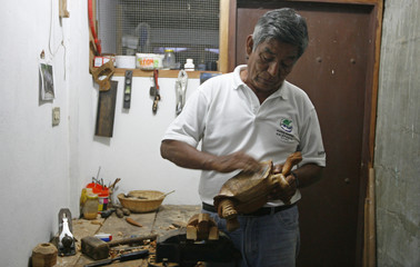 Agriculture worker Fausto Llerena, 69, works on a wooden figure of a tortoise at his home in Santa Cruz