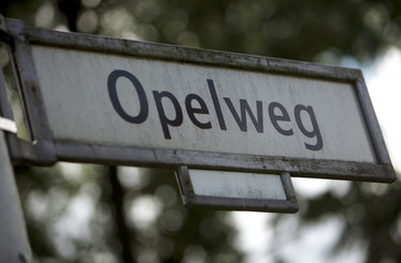 An Opel road sign is pictures in Berlin