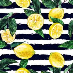 Lemons. Watercolor seamless pattern.