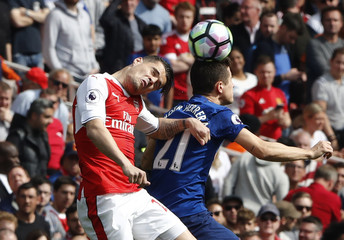 Arsenal's Granit Xhaka in action with Manchester United's Ander Herrera