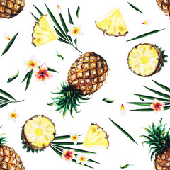Pineapples. Watercolor seamless pattern.